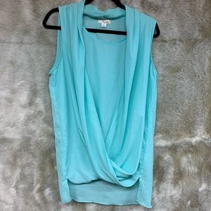 Mint/blue high-low draped top by Misia, size L